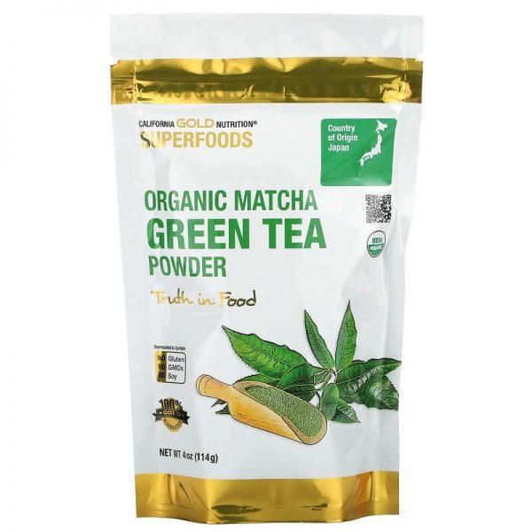 אבקה להכנסת תה מאצ'ה מעלי תה ירוק